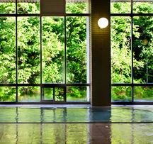写真:新緑広がる大浴場
